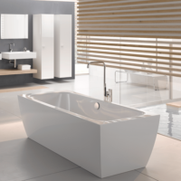 Bette Cubo Silhouette Freestanding Bath 1770 x 850 with waste