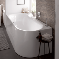 Bette Lux IV Silhouette Freestanding L Bath 1750 x 800 with waste