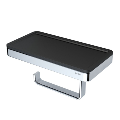 Geesa Frame Toilet Roll Holder with Shelf Black and Chrome