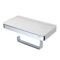 Geesa Frame Toilet Roll Holder with Shelf White and Chrome