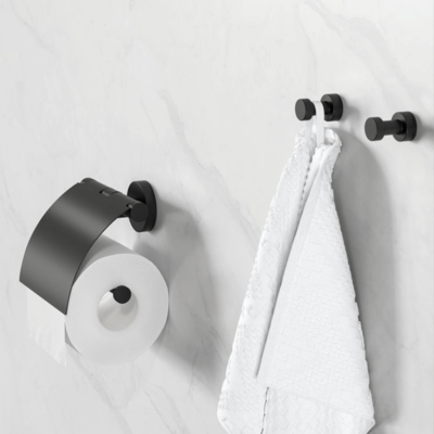 Geesa Nemox Bathroom Accessory Collection Black - Robe Hook and Toilet Roll Holder