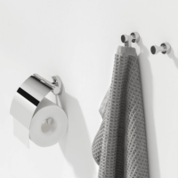 Geesa Nemox Bathroom Accessory Collection Chrome - Robe Hook and Toilet Roll Holder