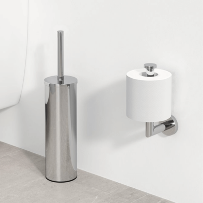 Geesa Nemox Bathroom Accessory Collection Chrome - Toilet Brush and Spare Toilet Roll Holder
