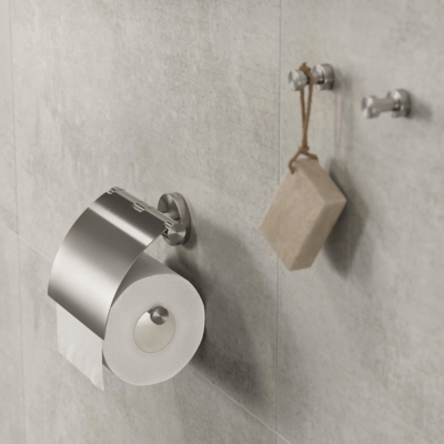 Geesa Nemox Bathroom Accessory Collection Stainless Steel - Toilet Roll Holder and Robe Hook